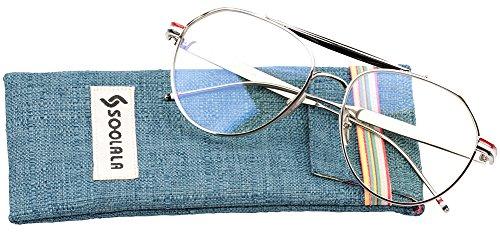 SOOLALA Mens Retro Oversized Classic Aviator Eyeglass Frame Big Reading Glass, Silver, - Sunglasses Reader Walmart