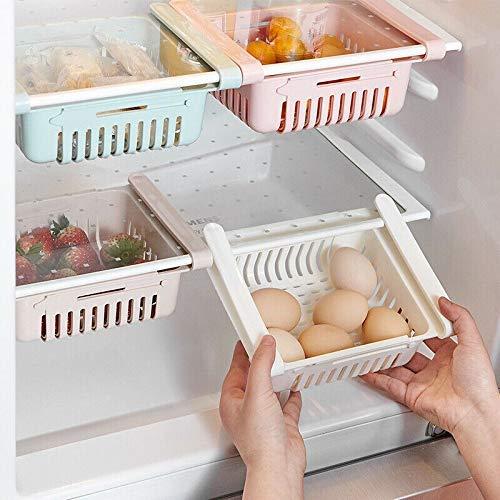 Refrigerator Partition Durable Storage Rack Refrigerator Storage Rack Freezer Shelf Rackkitchen Space Saving Organization Fruit Processing kitchenCollection Box Basket Storage Basket Container 4PCS