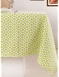 Table Cloth, 100% Cotton, Rectangular Table Cloth of Size 52X70 Inch, Eco - Friendly & Safe, Green, The Hive in Lime Design for Kitchen