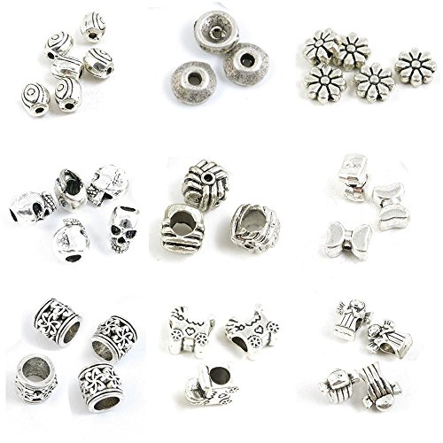 36 Pieces Antique Silver Tone Jewelry Making Charms Girl Doll Loose Beads Stroller Baby Carriages Tube Butterfly Stripe Skull Flower Flat Spacer Caps Eye