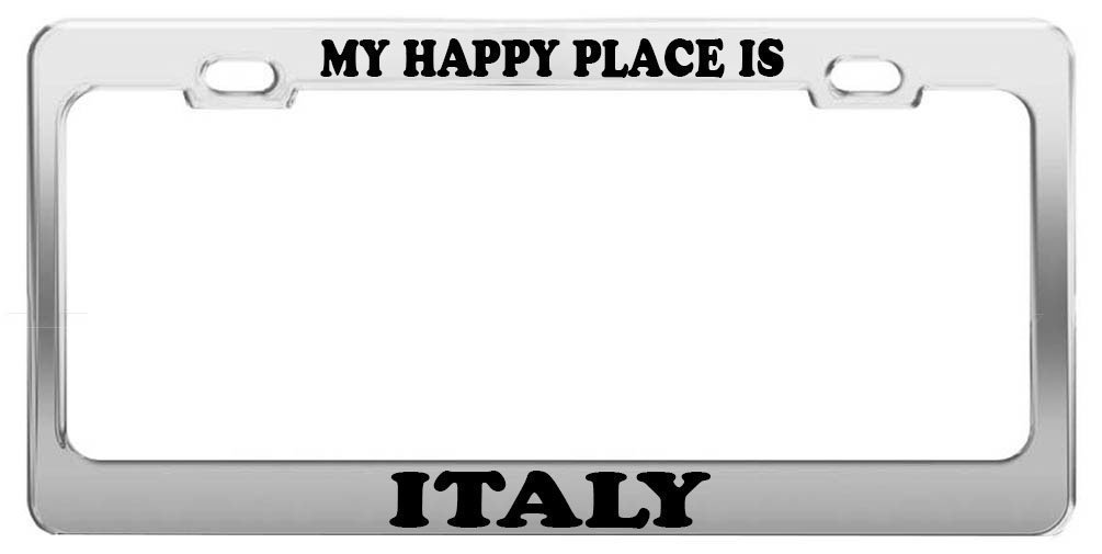 Guang trading MY HAPPY PLACE IS ITALY License Plate Frame Tag Holder Car Truck Accessory Gift