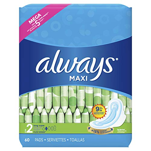Always Maxi Feminine Pads for Women, Size 2, Long, Super Absorbency, with Wings, Unscented, 60 Count (Packaging May Vary)
