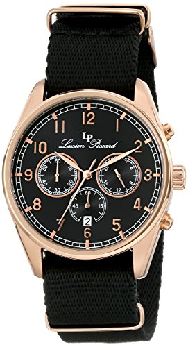 Piccard Lucien Chrono (Lucien Piccard Men's LP-10588N-RG-01 Moderna Analog Display Japanese Quartz Black Watch)