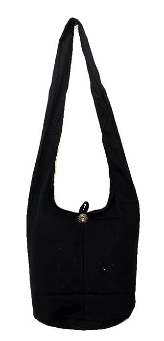 cce22abc37f1 Pada Craft Shop Thai Hippie Hobo Sling Crossbody Shoulder Bag Purse  Handmade Zip Plain Black Cotton Gypsy Boho Messenger Medium M721   Amazon.ca  Shoes   ...
