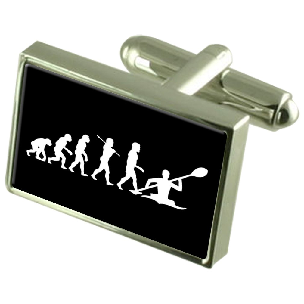 Select Gifts Evolution Ape to Man Kayak Sterling Silver Plated Cufflinks Boxed