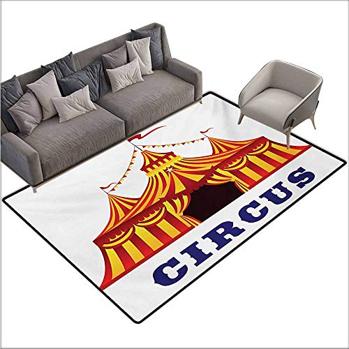 Children's Rugs Playrug Rugs Circus Illustration of Old Striped Tent in Retro Style Old Fashion Joy Theater Art Country Home Decor W78 xL106 Red Yellow White (Tent Pet Ego)