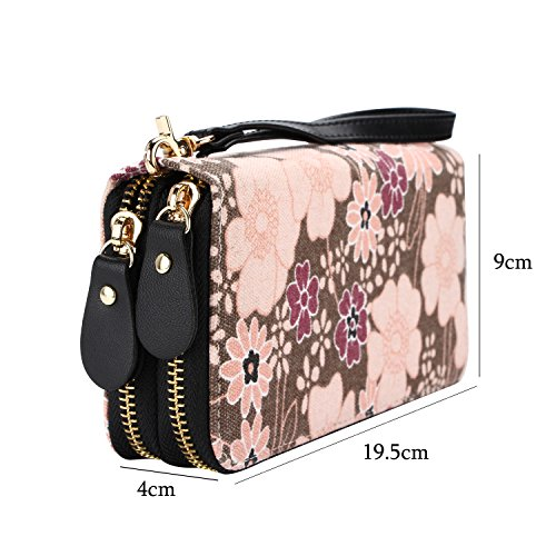 Wallet Zipper Handbag Women Clutch Brown Card Purse Wristlets Canvas Holder Owl Phone ttf6Aq