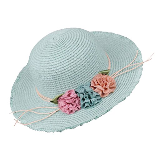 Price comparison product image YourCandy Girl Straw Fedora with Flowers Beach Sun Hats for Girls-Blue