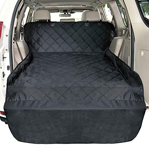 F-color Cargo Liner for SUV, Waterproof Pet Cargo Cover Dog Seat Cover Mat for SUVs Sedans Vans with Bumper Flap Protector, Non-Slip, Large Size Universal Fit, Black