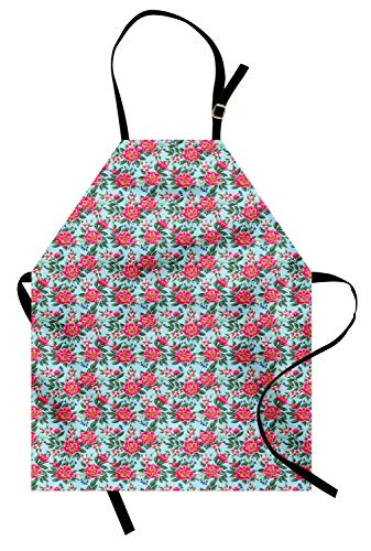 Ambesonne Peony Apron, Coming of The Spring Arrangement of Flowers on Pastel Blue Background, Unisex Kitchen Bib Apron with Adjustable Neck for Cooking Baking Gardening, Baby Blue Pink and Green ()