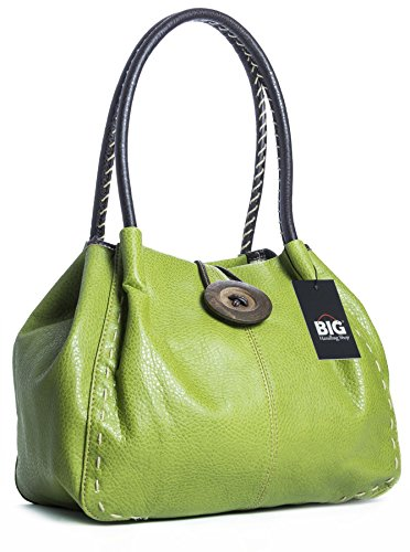 Trendy bolso con gran detalle, bandolera de piel sintética Lime Green (HR617)