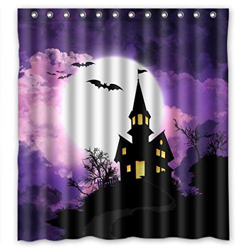 Purple Halloween Castle Bat Waterproof Shower Curtain 66