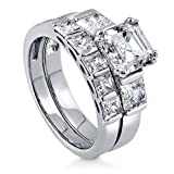 BERRICLE Rhodium Plated Sterling Silver Cubic Zirconia CZ 3-Stone 5-Stone Engagement Ring Set