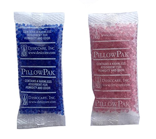 100 Pack of 2gm Blue to Pink Indicating Silica Gel Packets Desiccants [2' x .85'] - RECHARGEABLE by Listing Instructions