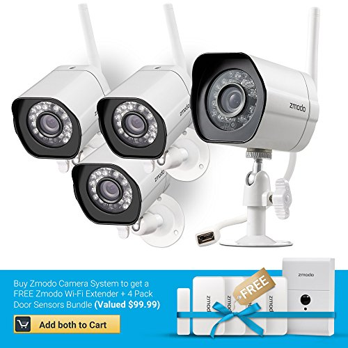 : Zmodo Smart Wireless Security Camera System- 4 Pack- HD Indoor/Outdoor WiFi IP Cameras with Night Vision Easy Remote Access - Buy one, get Free WiFi Extender & Door Sensors