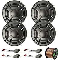 4X Polk Audio DB6502 6.5 300W 2 Way Car/Marine ATV Stereo Component Speakers, 4X Metra Speaker Adapter for Select Vehicles, Enrock Audio 16-Gauge 50 Foot Speaker Wire