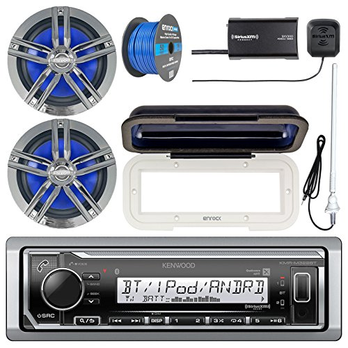 Kenwood KMR-M322BT Marine Bluetooth Receiver, Radio Cover, 2x Enrock Marine 2-Way 6.5