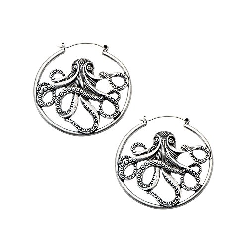 20g Octopus Hoop earrings silver color Sold AS PAIR w 123