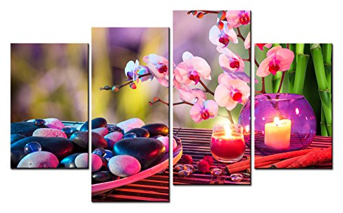 SmartWallArt - Spa Paintings Wall Art Spa Stones and Burning Candles Near Orchids on the Bamboo Mat 4 Pieces Picture Print on Canvas for Modern Home Decoration -