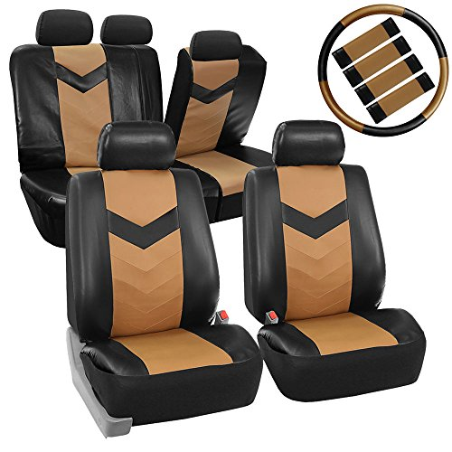 FH Group LIMITED TIME ONLY 20% OFF PU021115 Synthetic Leather Full Set Auto Seat Covers w. Steering Wheel Cover & Seat Belt Pads, Tan Black Color - Fit Most Car, Truck, Suv, or Van