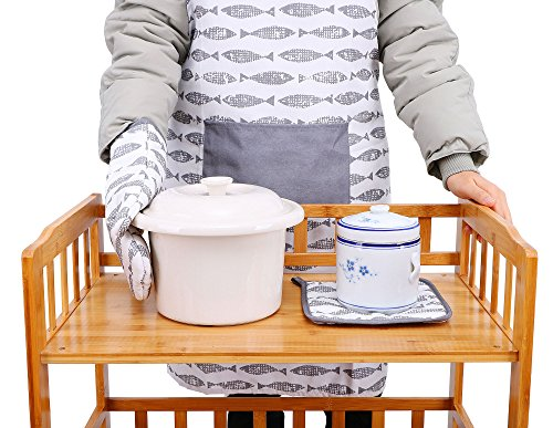 Baking Printed Apron Oven Mit Pot Holder Set
