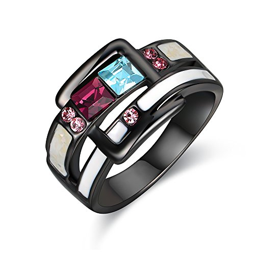 Mytys Fashion Black Ring Enamel Blue Purple Crystals Buckle Band Cocktail Statement Rings for Women Girl Size 7