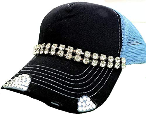 Cap Swarovski Cotton (Women's Midnight Blue Trucker Hat Swarovski Crystal Embellished Bling)