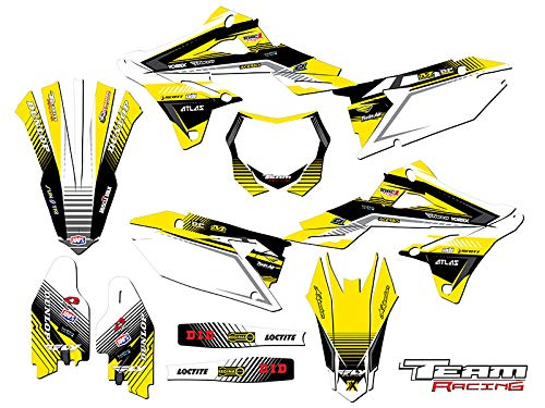 Team Racing Graphics kit compatible with Suzuki 2018-2019 RMZ 450, ANALOG Yellow Complete (Best 450 Dirt Bike 2019)