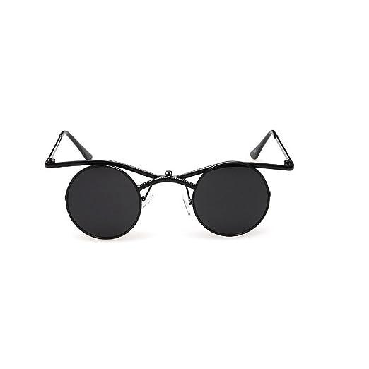 23fe5c2c66ba MINCL Boho Chic Gothic punk Sidestreet Flip-up Round Mirror Lens Metal  Frame Sunglasses