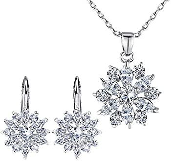 BAMOER 18K Rose Gold Plated Snowflake Lever Earrings & Necklace Set
