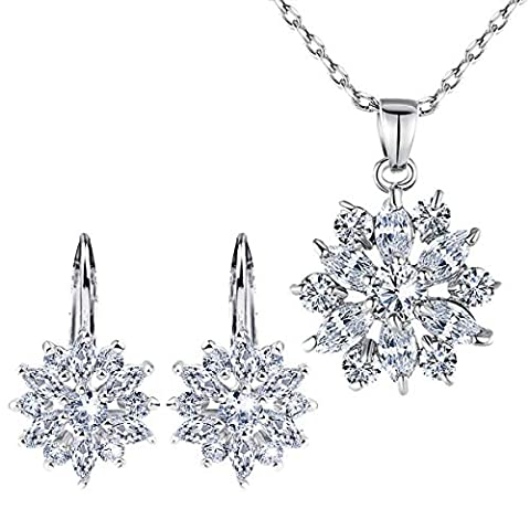 BAMOER 18K Rose Gold Plated Cubic Zirconia Snowflake Lever Back - Sale: $19.99 USD (20% off)