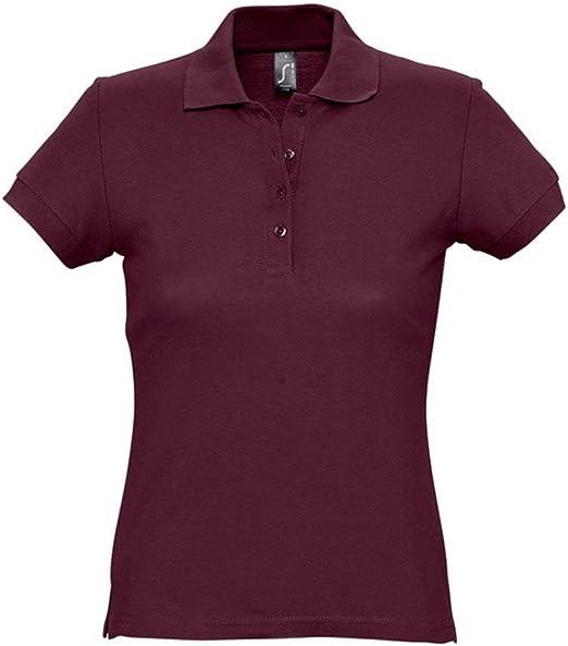 SOLS - Polo de piqué de algodón pasión para Mujer Rojo Granate S ...