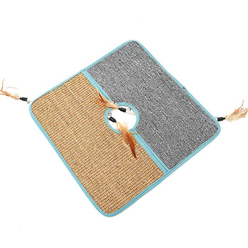 YANGXIURONG Double-Sided Design Sisal Cat Scratching Pads / Fun Cat Scratch Pad And Carpet Combination / Cat Scratch Board With Feather Toy, Edge Protection Corner Protection Scratch Wall Protection