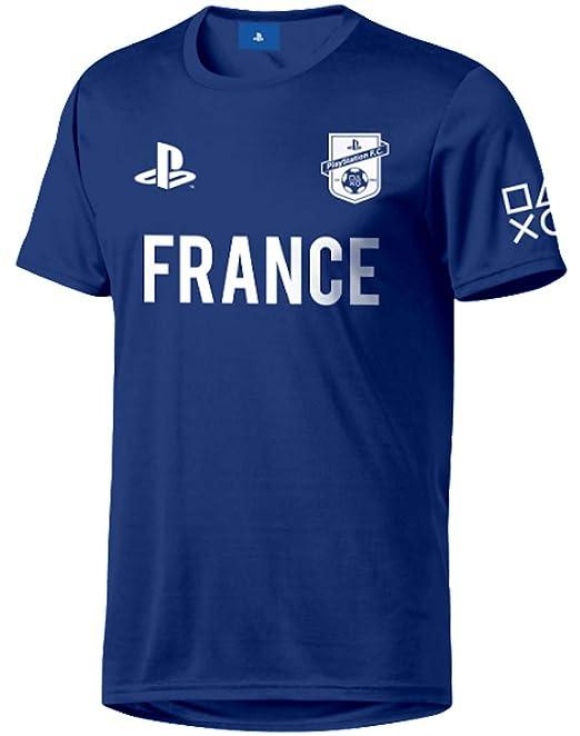 Sony Playstation FC - France - Hombre Oficial Camiseta de Fútbol - Azul, M