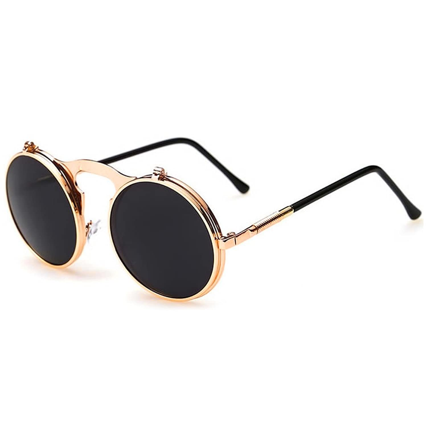 Julyshop Vintage Round Metal Frame Flip Up Sunglasses Glasses New Eyewear Lens by Julyshop