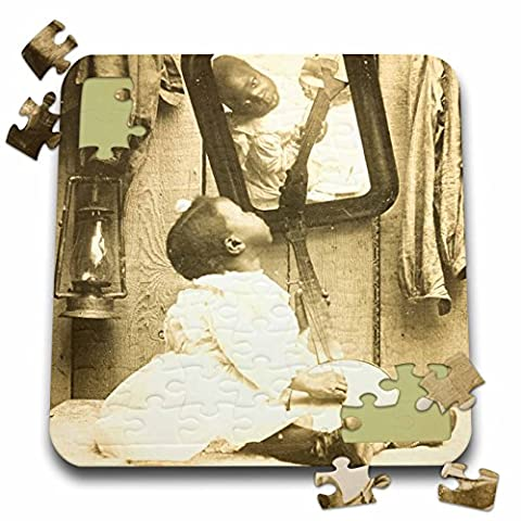 Scenes from the Past Stereoview - Vintage stereoview of a African American girl and her banjo. - 10x10 Inch Puzzle (Children Banjo)