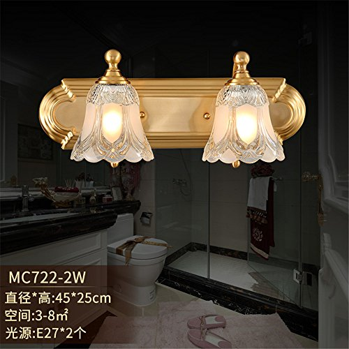 Industrial Vintage Wall Sconces Lunar Shadow, The Dayton Mirror Front Lamps Full Copper Wall lamp Crystal lamp Glass Enclosure Dual Head Wall Lights Bathroom Three-Wall Lights (4525cm)