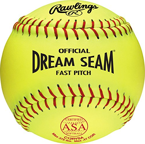 Rawlings Official ASA Dream Seam Fastpitch Softball, 12 Count, C12RYSA