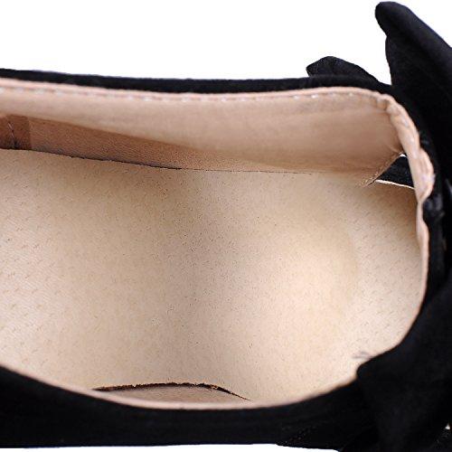 Black B Pumps High Heel M Bowknot Suede HooH Platform US Pumps Stiletto Wedding Women's 7 Zipper PUXdnCOC