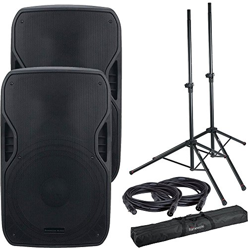 - American Audio ELS-GO 15BT Battery-Powered Speakers w/Gator Stands
