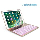 Keyboard Case for 2017 New iPad 9.7 inch & iPad Air -LED 7 Colors Backlit Bluetooth keyboard Folio Case Cover, Ultra Slim, Aluminium Alloy & 130° Rotating-Not For iPad Pro 9.7 and iPad air 2(Golden)