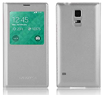 JAMMYLIZARD Galaxy S5 Funda Smart View, Carcasa De Piel Tapa Tipo Libro [ Función S-View ] Flip Case para Samsung Galaxy S5 Cover, Plateado