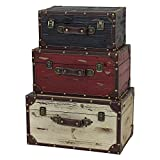 Steamer Trunks Storage Box Large Medium Small Antique Brass Hinged Solid Pine Weathered Wood Leather Distressed Black Red White Set of 3 Decorative