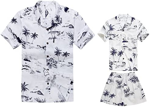 0dc381876 Matching Father Son Hawaiian Luau Outfit Men Shirt Boy Shirt Shorts White  Map