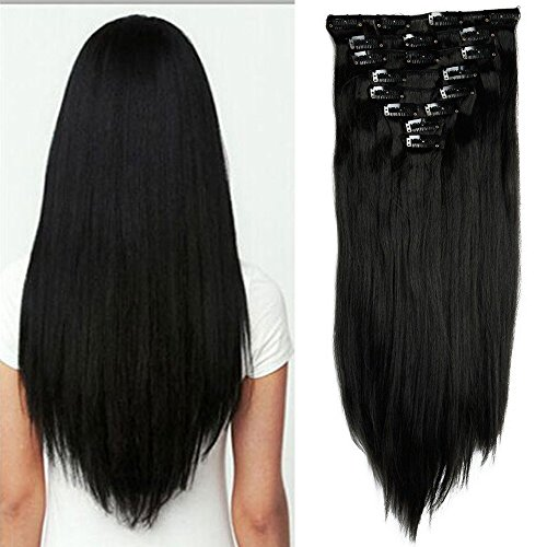 26 Inches 8pcs Dark Black Long Straight Full Head Clip in Hair Extensions Hairpieces for Sexy Lady - Delivery Price Same Day Ups