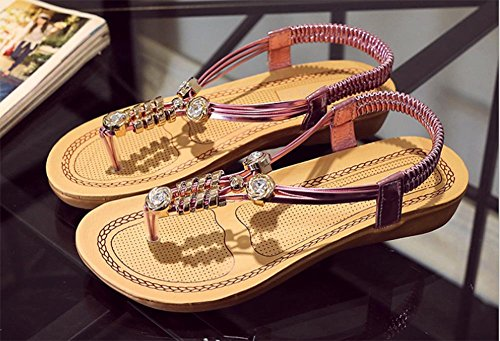 Weibliche Sandale Xia Jiping Unterseite Schuhe Diamanten Perlen Sandalen Sandalen Frau pink