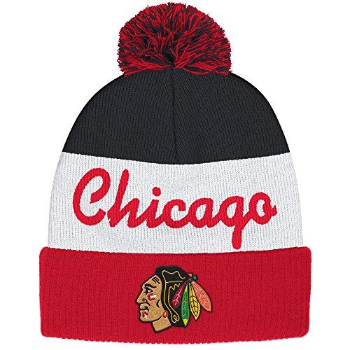 Reebok Chicago Blackhawks Cuffed Pom Knit Hat (Mens Reebok Hats)