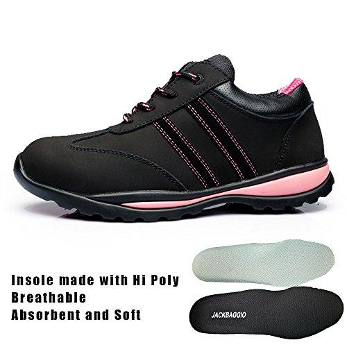 calzado Negro Piel Running ligero De la acero 8820 de de Vacuno jackbaggio De labor Mujer para formación faHHO
