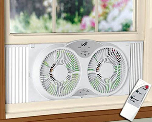 "HowPlumb Portable Twin 9"" Reversible Window Fan with Remote Control"