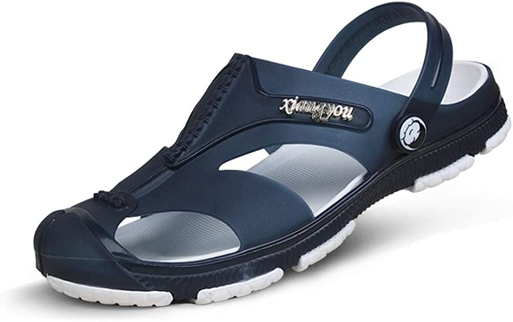 Hombres obstina Sandalias Zapatillas Transpirable Suave Antideslizante Hueco Zapatos de Playa Verano Cerrado Dedo Plana Doble Uso Calzado de Agua Chanclas para baño al Aire Libre Caminar